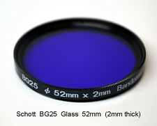 Schott BG25 52mm x 2mm thick UV Bandpass Ultraviolet, Dual Band IR Camera Filter
