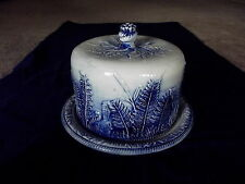 Antique Blue Fern Leaves White Pottery COVERED CAKE PLATE LID Crown M-C Banner