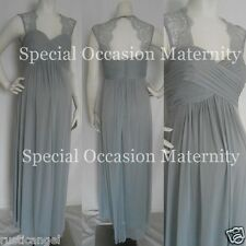 New Long Silver Lace Cutout Back Maternity Dress Gown Chiffon 3X Special Formal