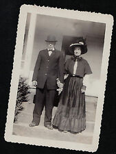 Vintage Antique Photograph Man & Woman in Front of House Wearing Cool Outfits