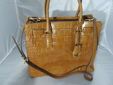 MICHAEL KORS DILLON WALNUT PYTHON EMBOSSED LARGE  N/S LEATHER TOTE HANDBAG