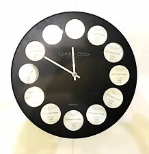 LONDON CLOCK 12 PHOTO FRAME MATT BLACK METAL BODY 35cm WALL CLOCK