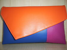 OVER SIZED FUCHSIA PINK, ROYAL BLUE & ORANGE  faux leather clutch bag BN