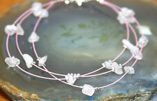 3-Strand Rose Quartz Stone Chip Crystal Gemstone Bracelet, Reiki Blessed, 19cm