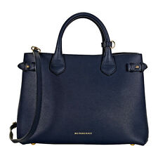 Burberry Medium Banner House Check Leather Tote - Ink Blue