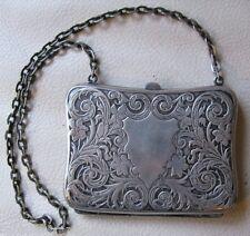 Antique Victorian Art Nouveau Floral G Silver Anchor Mark Card Case Coin Purse
