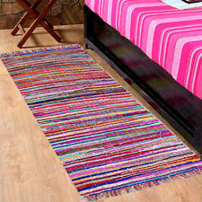 MULTI COLOUR CHINDI RAG RUG FAIR TRADE RECYLED WOVEN HANDLOOM RUNNER 60X200cm
