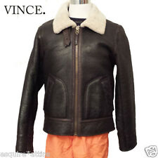 VINCE pilot jacket brown leather sherling lining full zip (fits size M)