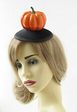 Pumpkin Fascinator Hair Clip Halloween Orange Black Hat Witch Goth Races 800