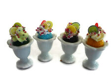 Set of 4 Fruit Ice-Cream Sundae in Cup Dollhouse Miniatures Food Deco-1