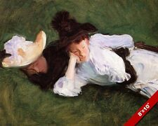 TWO WOMEN LAYING IN THE GRASS W HATS OIL PAINTING ART PRINT ON REAL CANVAS