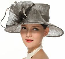 Church Kentucky Derby Carriage Tea Party Wedding Wide brim Sinamay Hat Gray