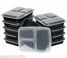 12-3-compartment Microwave Safe Food Container/Lid/divided Plate/lunch box/Bento