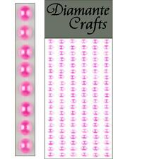 120 x 5mm Hot Pink Pearl Self Adhesive Strips Rows Craft Embellishment Gems
