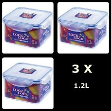 3 X Lock and Lock Food Storage Containers Square Sandwich Lunch Box 1.2L