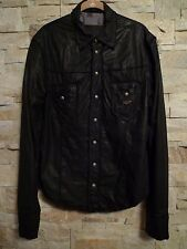 PHILIPP PLEIN HOMME MENS BLACK LEATHER SHIRT LIMITED EDITION PRE-OWNED SIZE L