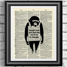 Original Art print on dictionary book page Banksy monkey quotation wall hanging.