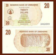 Zimbabwe P40, 20 Dollars, Bearer Cheque, Victoria Falls, UNC, 2007