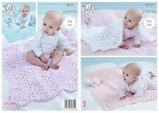 King Cole Baby Blankets Yummy Chunky Yarn Knitting Pattern 4533