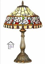 IDEAL CHRISTMAS GIFT- FLORAL TIFFANY STYLE HANDCRAFTED TABLE LAMP (medium size)