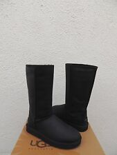 UGG CLASSIC TALL BLACK WATER-RESISTANT LEATHER SHEEPSKIN BOOTS, US 7/ EU 38 ~NEW
