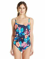 Coco Reef Floral Ruffled One-Piece D-Cup Swimsuit Sz 10/34C Navy Capta