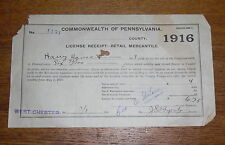 1916 PA Retail Mercantile License Receipt Harry Hause General Merchandise Marsh