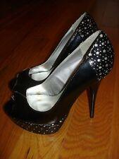 """NEW Qupid Black PATENT Heels w/STARS Womens size 6   5 1/4"""" HEEL"""