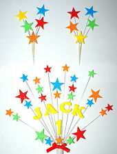Glitter star personalised name and age Birthday Cake Topper AND  2x mini toppers