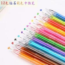 12pcs Color Lovely 0.5mm Rollerball Gel Pens Fine Point Pens Stationery Writing