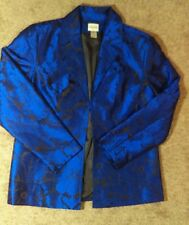 NEW Beautiful Chico's Silk Jacket Sz 2 = M  12  Royal Blue & Black FULLY LINED