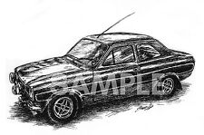 Ford Escort RS 2000 MK1 Art Print Illustration