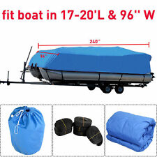 Blue 17-19 Ft Waterproof Heavy Duty Fabric Trailerable Pontoon Boat Cover NEW