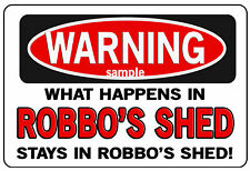Personalised A4  Funny Bar Shed Warning Sign  - Christmas Gift Idea - Any Name