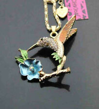B718#L     Betsey Johnson Crystal Enamel Hummingbird Flower Pendant Necklaces