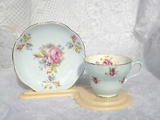 EB Foley Baby Blue/Floral  Tea Cup &  Saucer  Gold Rimmed #2116 (91)