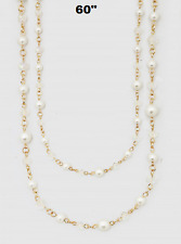 """60"""" Long White Pearl and Crystal Beaded Wrap Around Necklace 8mm"""