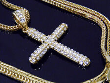 "Gold Hip Hop Iced Out Crucifix Jesus Cross Pendant + 36""  Franco Chain Necklace"