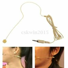Beige Earhook Head Headset Mic Microphone 1.45M for Audio Technica Wireless NEW