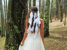 Boho Indian WHITE Feather Hairdress Cream  BALL Weave BAND Headpieces BRIDAL WED