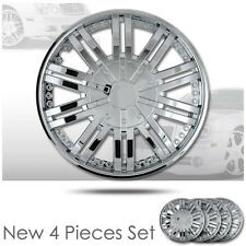 New set of four 14 Inch 10 Spikes Chrome Hubcaps Rim Wheel Skin Covers Set 529