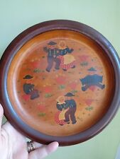 VINTAGE 1937? DUTCH WOODEN PLATE WITH PAINTED DANCERS (ref67.2)