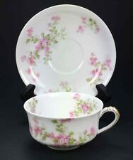 Haviland Limoges SCHLIEGER 29a Pink Floral Berry China Tea Cup & Saucer Antique