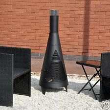 Grand tour chiminea jardin noir chimnea outdoor patio heater bbq foyer en acier