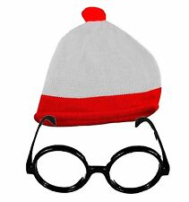 Unisex Red/White Bobble Hat & Glasses Theme Party No lens Glasses