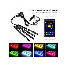 4x 7 Color 12 LED iOS Android App Control Car Interior Floor Decorative Lights