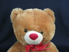 BIG FLUFFY CINNAMON BROWN TEDDY BEAR RED VALENTINE BOW POLKADOT HEART PLUSH CUTE