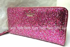 Kate Spade PWRU4540 Glitter Bug LACEY Zip Wallet RED MULTI Hot Pink NWT