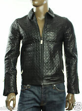 New Calvin Klein Premium Slim Fit Black Snake Embossed Genuine Leather Jacket S