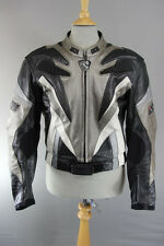 IXS BLACK, GREY & WHITE LEATHER BIKER JACKET WITH REMOVABLE CE ARMOUR 40 INCH